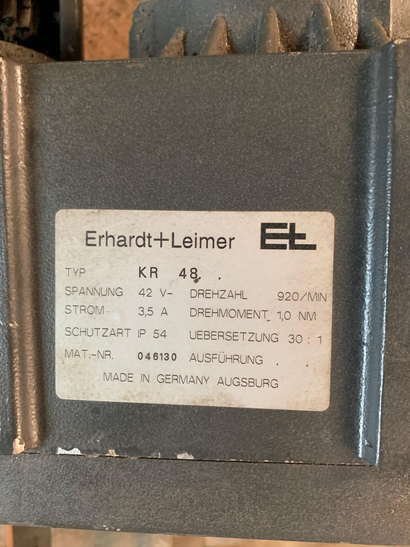 Lot 21220 - Erhardt Leimer KR 48 Motor Guiding Systems 42 Volts / DC 3.5 Amp, Rigging Fee: $25