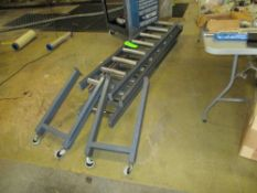 Roller conveyor with casters , 3 sections 72 in x 12.5 in BF roller ***Auctioneer Note*** -- $50