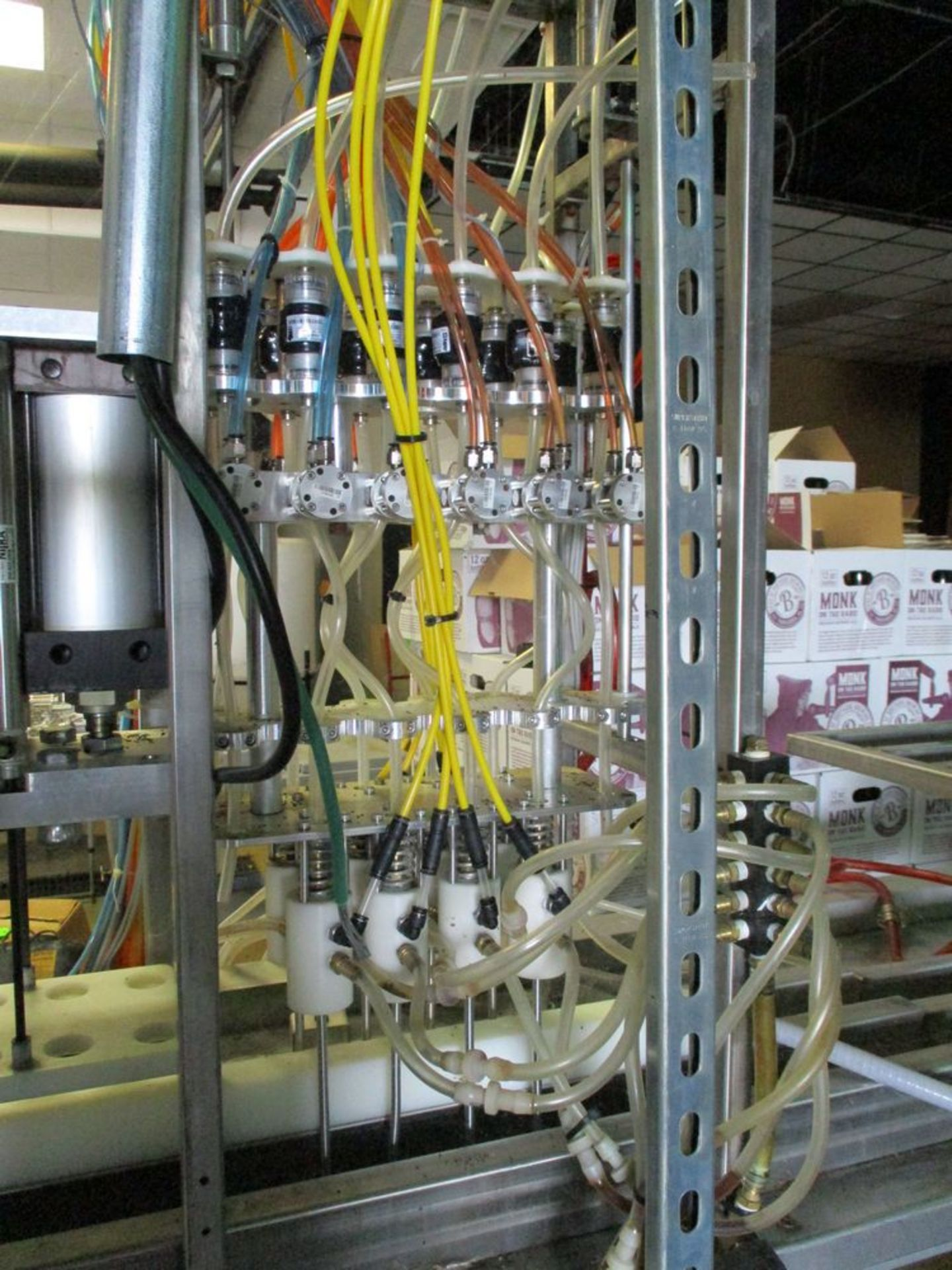 Semi-automatic 6 station bottle filler with spare parts, 112 in x 74 in ***Auctioneer Note*** -- $ - Image 4 of 14