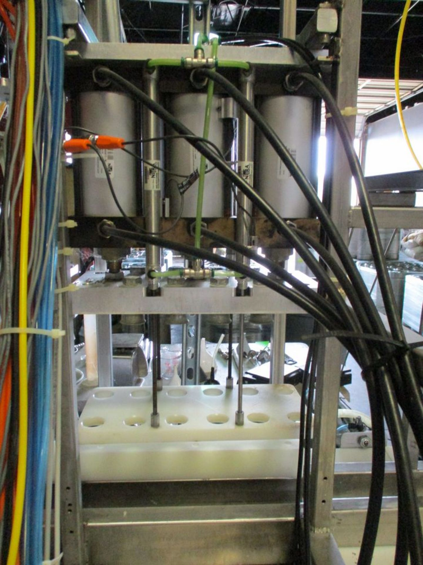 Semi-automatic 6 station bottle filler with spare parts, 112 in x 74 in ***Auctioneer Note*** -- $ - Image 5 of 14