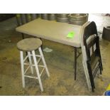 LOT OF 4, 2 folding chairs, 1- stool, 1- folding table 24 in x 48 in ***Auctioneer Note*** -- $25