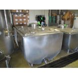 Sunset milk cooler tank with manway and mounted thermometer, model ME400-PX, 74 in x 54 in width x