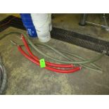 LOT OF 5 hoses, 2- red 48 in lg, clear 2 at 6 ft and 1 at 10 ft ***Auctioneer Note*** -- $25 Removal
