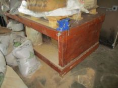 Wood construction work bench with vise, 8 ft x 4 ft x 37 in hgt ***Auctioneer Note*** -- $75 Removal