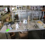 LOT OF Lab instruments, 2 measuring cup, magnetism mixer, 2 solid state scale 35 lbs and 1 50 lbs