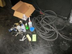 LOT OF garden hose , spray bottle , hose couplers, brush, spray nozzles ***Auctioneer Note*** -- $10