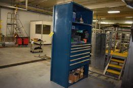 (Located in Mendota, IL) Vidmar type 6-Drawer Tool Cabinet w/Shelf - Blue