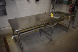 (Located in Mendota, IL) Stainless Steel Table w/Sink, 8' x 3' Wide
