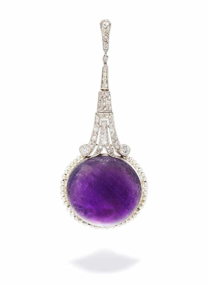 Lot 2015 - Amethyst-Diamant-Perlen-Anhänger<
