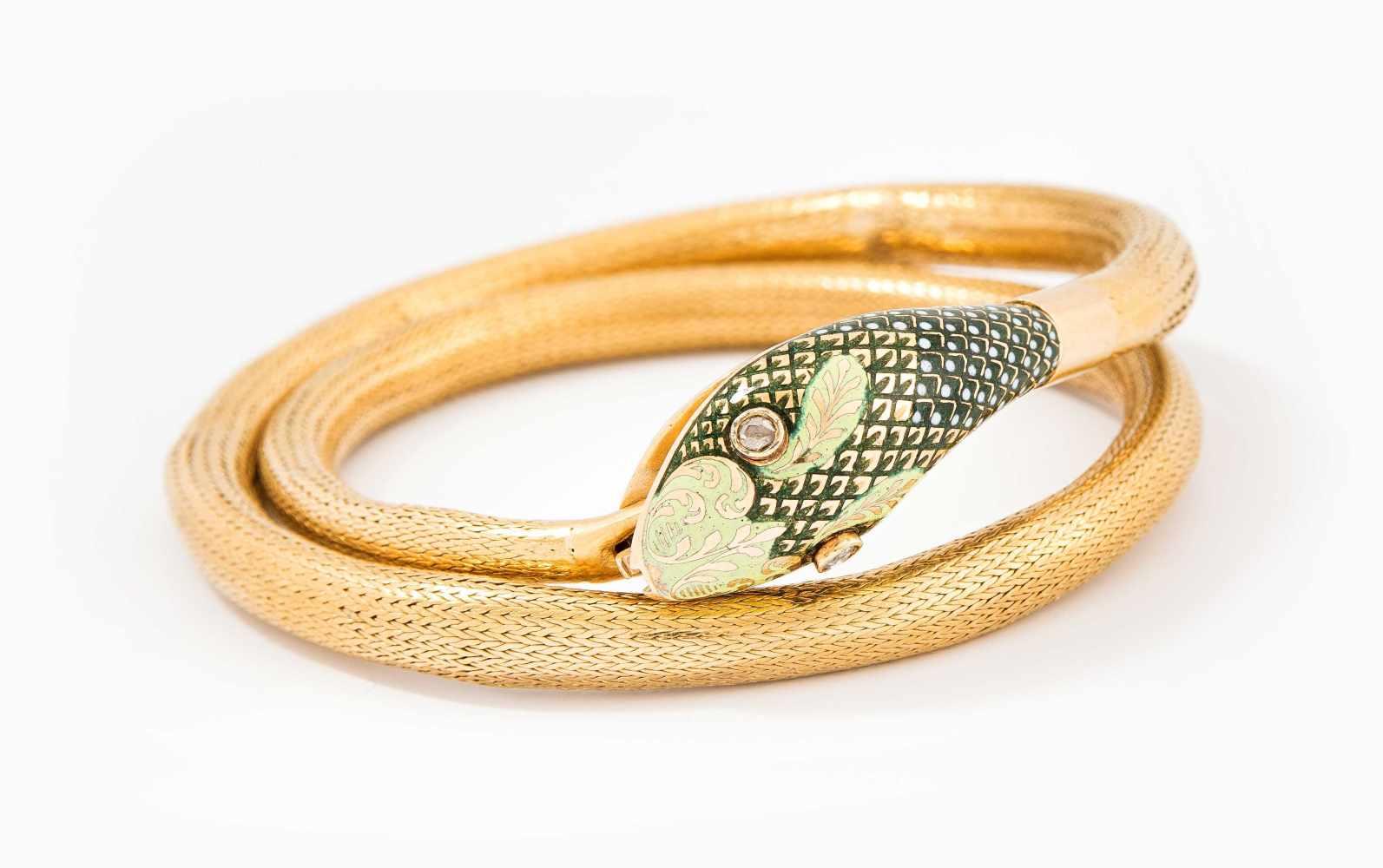 Lot 2006 - Email-Diamant-Schlangenarmband