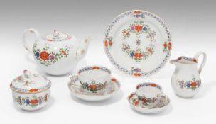 """Kaffee/Teeservice, Meissen20.Jh. Porzellan, polychromer Dekor """"Indianische Blumen"""". Bezeichnet:"""