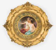 Porzellanbild, KPM BerlinEnde 19.Jh. Auf runder Porzellanplatte die polychrome Darstellung zweier