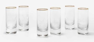 6 Bechergläser, Moser20. Jh. Farbloses Kristallglas, geschnittener Jagddekor, Goldrand. H 13 cm.