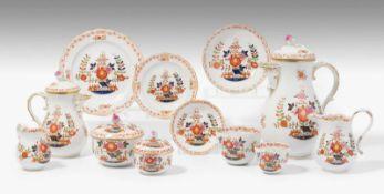 """Kaffee/Mokkaservice, Meissen20.Jh. Porzellan, polychromer Dekor """"Tischchenmuster"""". Bezeichnet:"""
