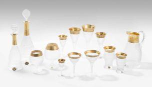 """Gläserservice """"Splendid"""", MoserForm: 1911. Farbloses Glas, geschliffen, oroplastisches Band mit"""
