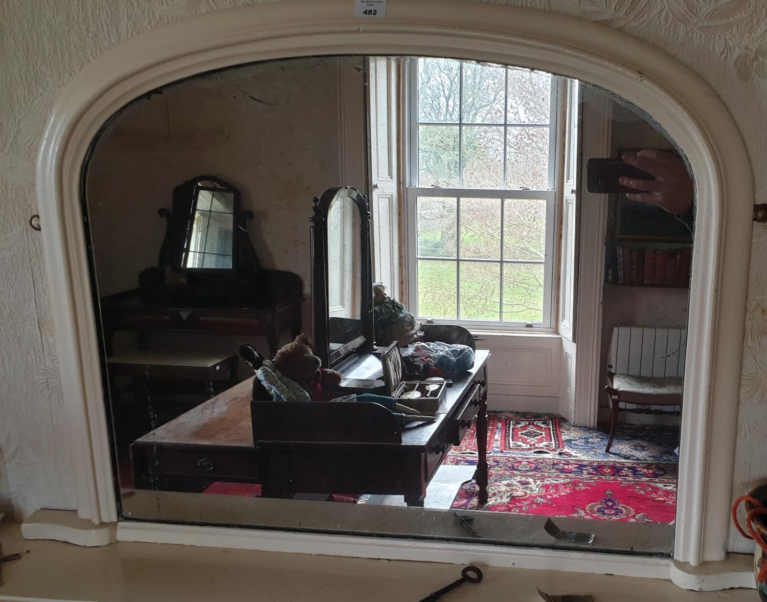 Lot 482 - A 19th Century Arch Top Mirror. 96 x 66cm.