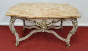 PARIS THRONE ROOM: A painted Table with a Marble top.111w x 63 x 64h cms.