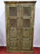 A good Painted Timber two door Cabinet with grilled front.113w x 43d x 206h cms.