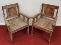 A good pair of 19th Century Limed Chairs.57w x seat h 36cms.