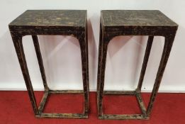 A really good pair of Timber Urn Tables.40w x 30 x 81h cms.