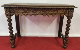 WESSEX-KING ECBERT CASTLE: A late 19th early 20th Century Painted Table.104w x 46d x 75h cms.