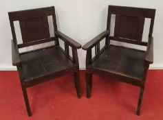 A pair of Timber Chairs.50w x seat h 36cms.