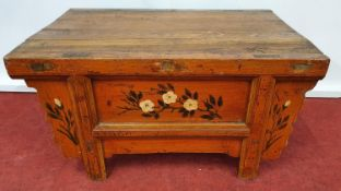 USED IN VARIOUS MARKETS AND STALL SCENES: A Timber market stall Table.74w x 48 x 38h cms.