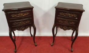 A pair of Painted Timber two drawer Side Tables.37w x 31 x 73h cms.