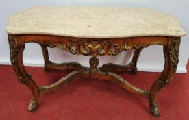 PARIS THRONE ROOM: A painted Table with a Marble top.109w x 67 x 62h cms.