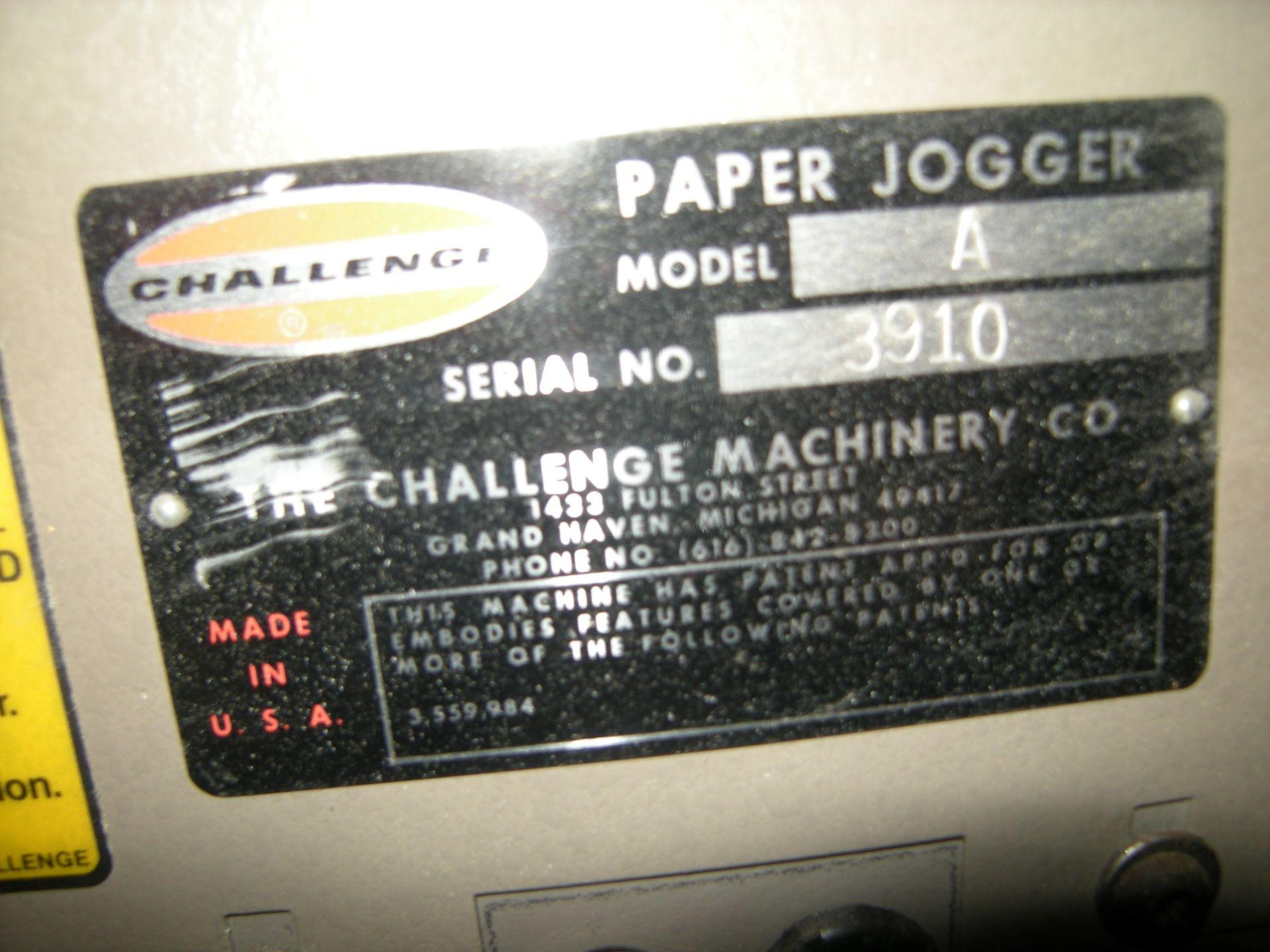 Lot 351 - Challenge Machinery Paper Jogger Model: A SKU: 3797