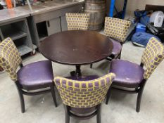 Dark Wooden Catering Table and 5 Chairs