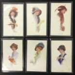 COMPLETE SET OF SIX GLAMOUR POSTCARDS OF WOMEN WITH HAT BY F E WILES