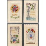 FOUR EARLY EMBROIDERED SILK POSTCARDS IN VARIOUS CONDITION