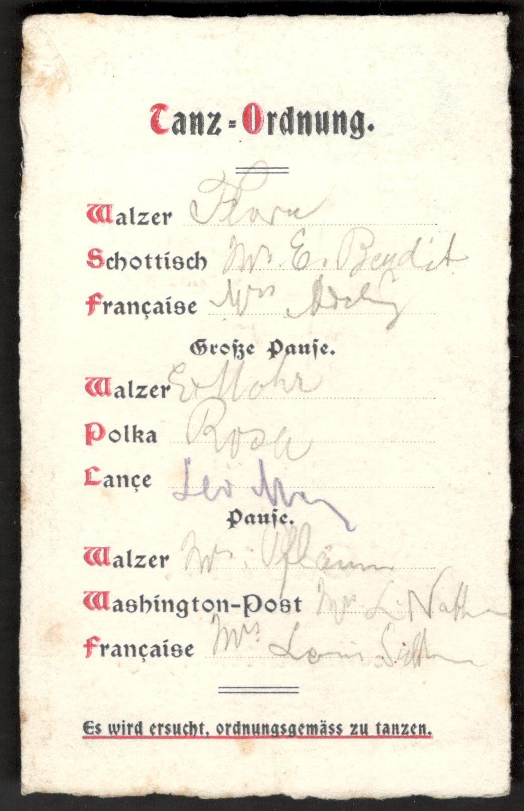 Lot 29 - CASINO WEIHNACHTEN 1905 SMALL DANCE CARD