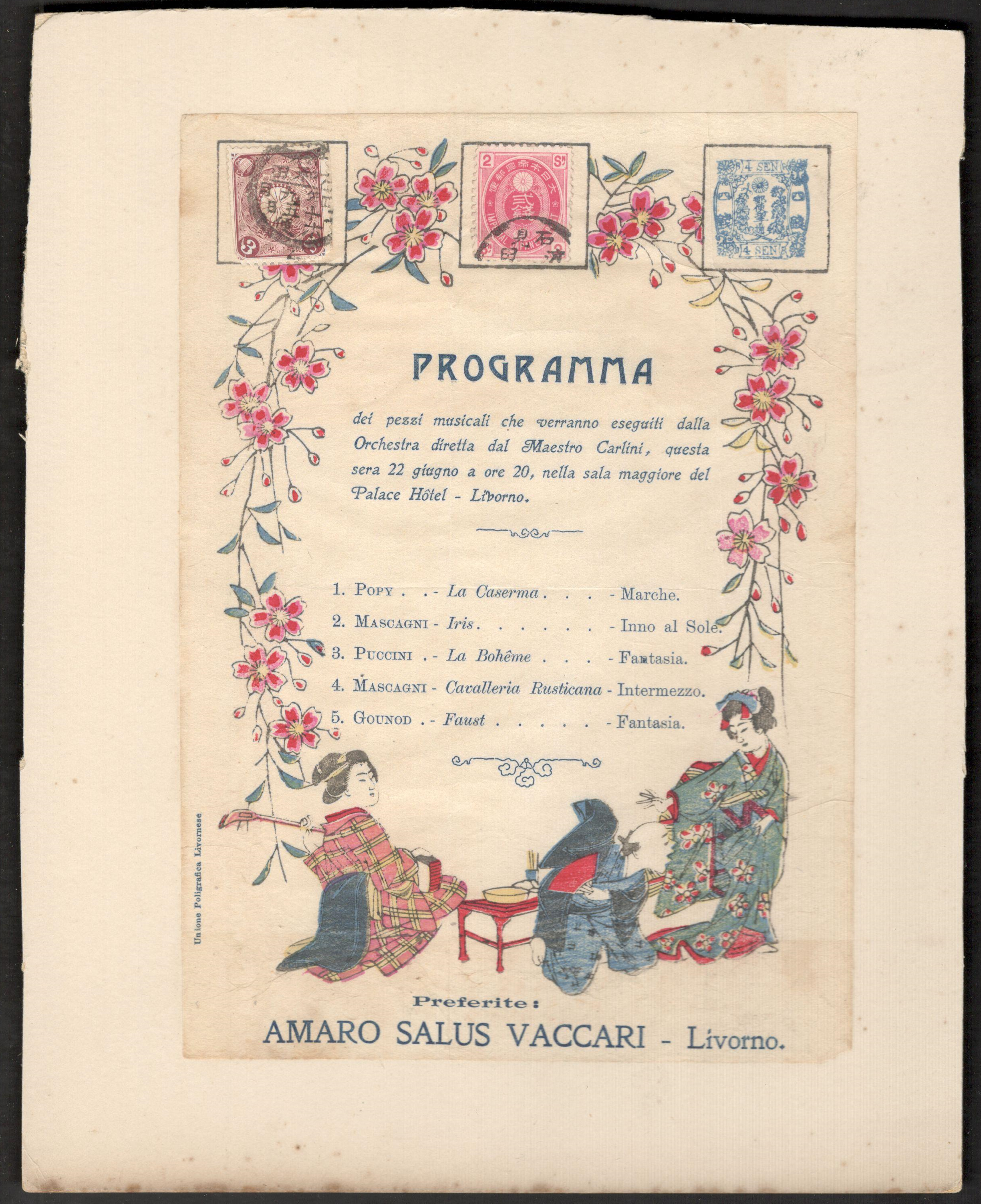 Lot 3 - UNUSUAL ITALIAN PROGRAMME ON CARD WITH JAPANESE SCENE & STAMPS - PALACE HOTEL LIVORNO
