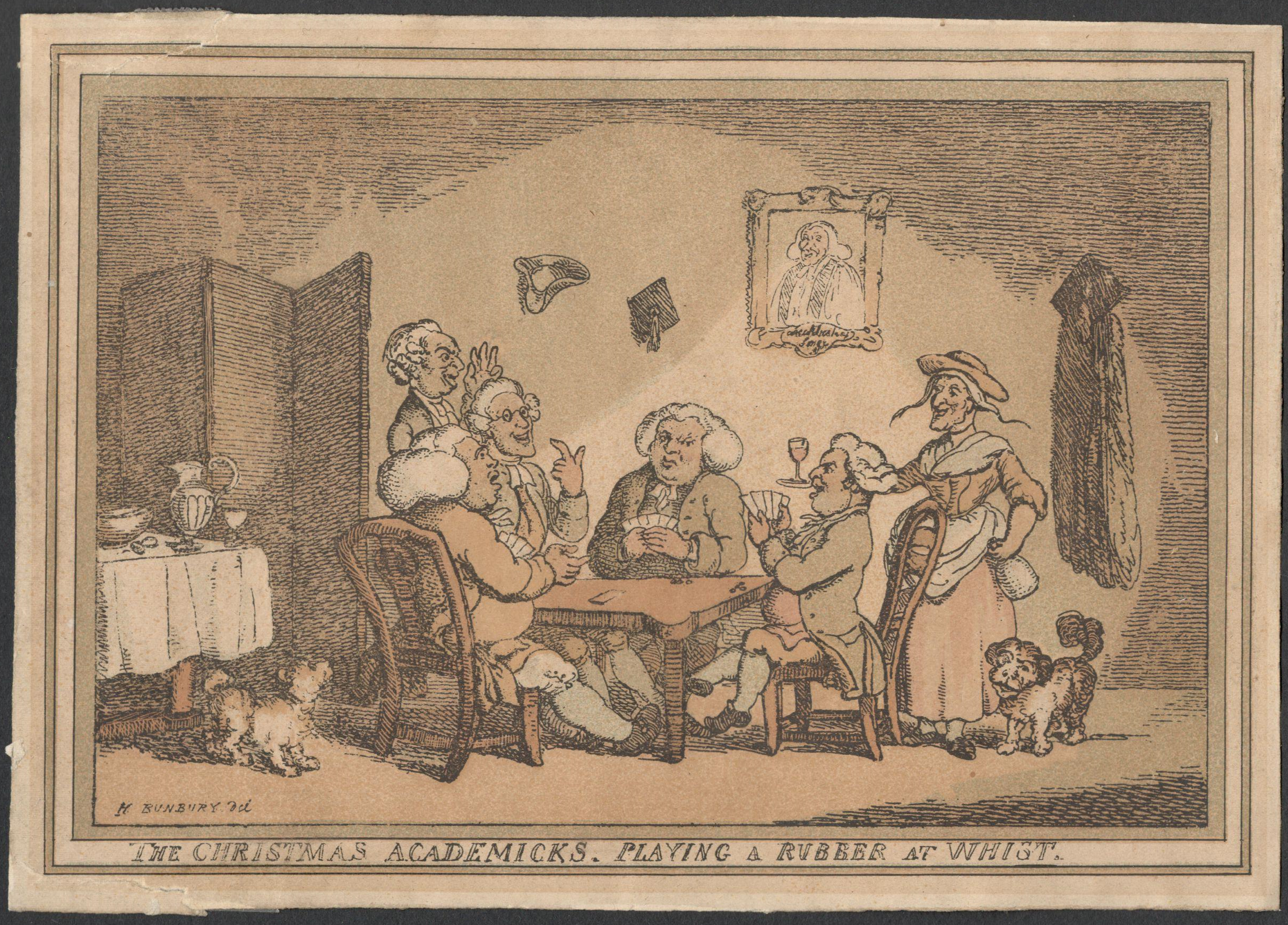 Lot 26 - THE CHRISTMAS ACADEMICKS PLAYING A RUBBER AT WHIST. A COLOURED ETCHING H.W.BUNBURY