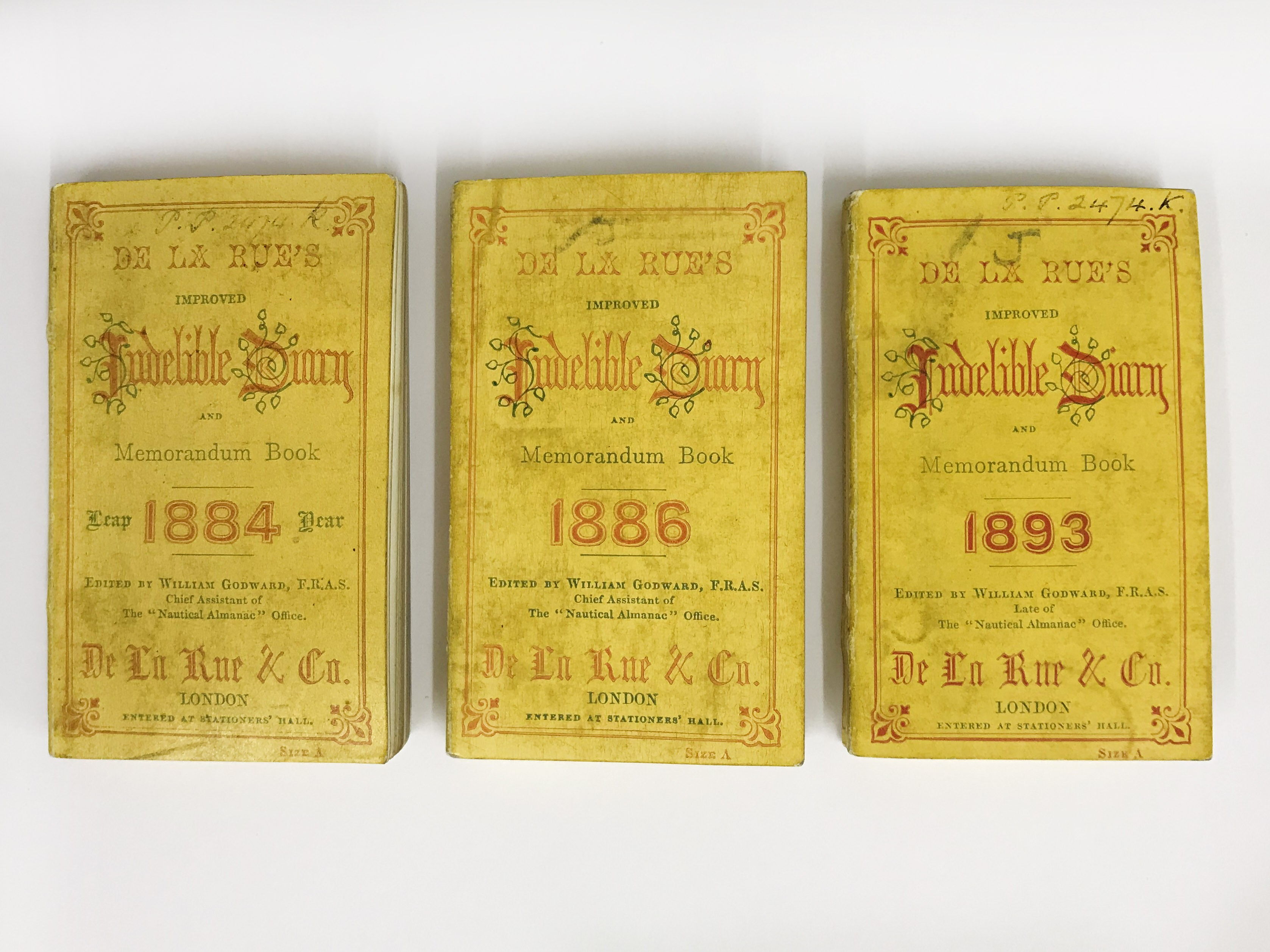 Lot 22 - MINIATURE DE LA RUE'S IMPROVED INDELIBLE DIARY AND MEMORANDUM BOOK FOR 1884, 1886 AND 1893