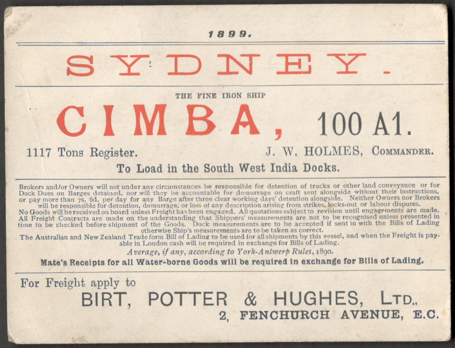 Lot 1 - SYDNEY CIMBA THE FINE IRON SHIP 1899 PASS FOR LOAD IN THE SOUTH WEST INDIA DOCKS