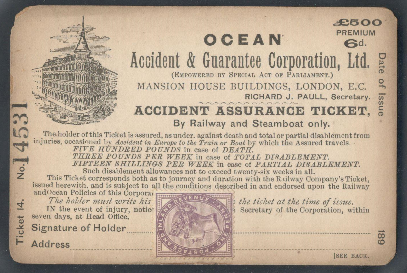 Lot 17 - 1890s ACCIDENT ASSURANCE TICKET BY RAILWAY AND STEAMBOAT ONLY FROM OCEAN ACCIDENT & GUARANTEE CORP