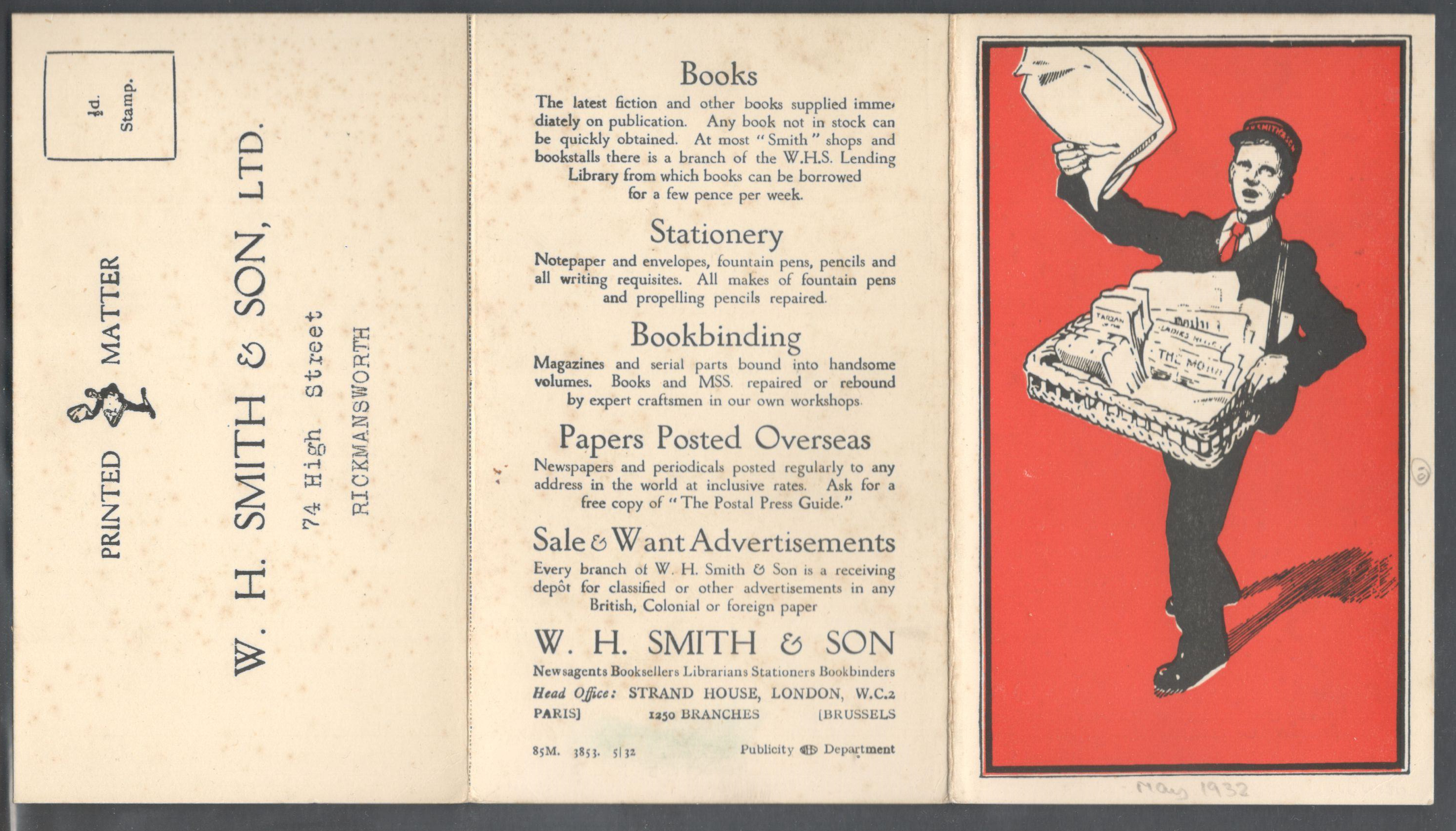 Lot 15 - W.H.SMITH & SON PREPRINTED ADVERTISING LETTER & ORDER FORM