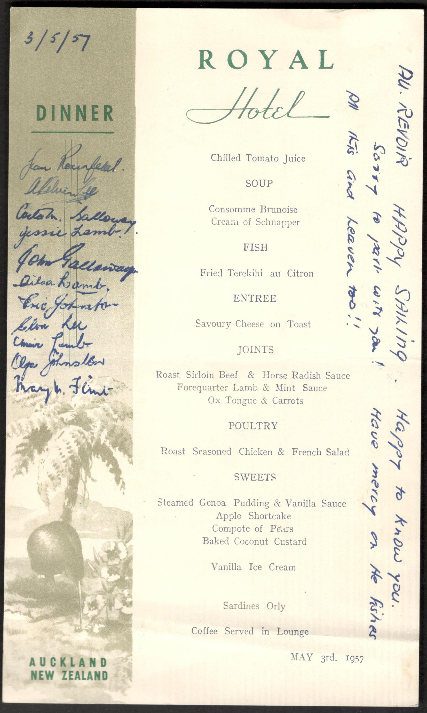 Lot 10 - 1957 AUCKLAND NEW ZEALAND ROYAL HOTEL SIGNED MENU