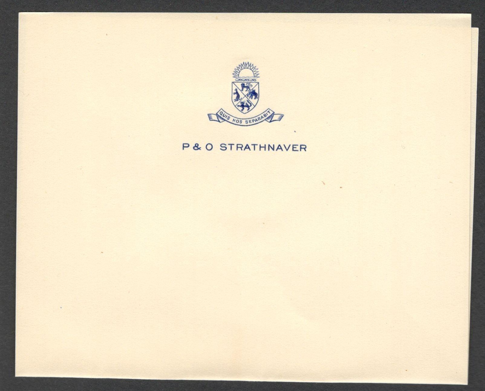 Lot 18 - P & O STEAM NAVIGATION COMPANY STRATHNAVER UNUSED WATERMARKED LETTERHEAD PAPER (FOLDED) & ENVELOPE