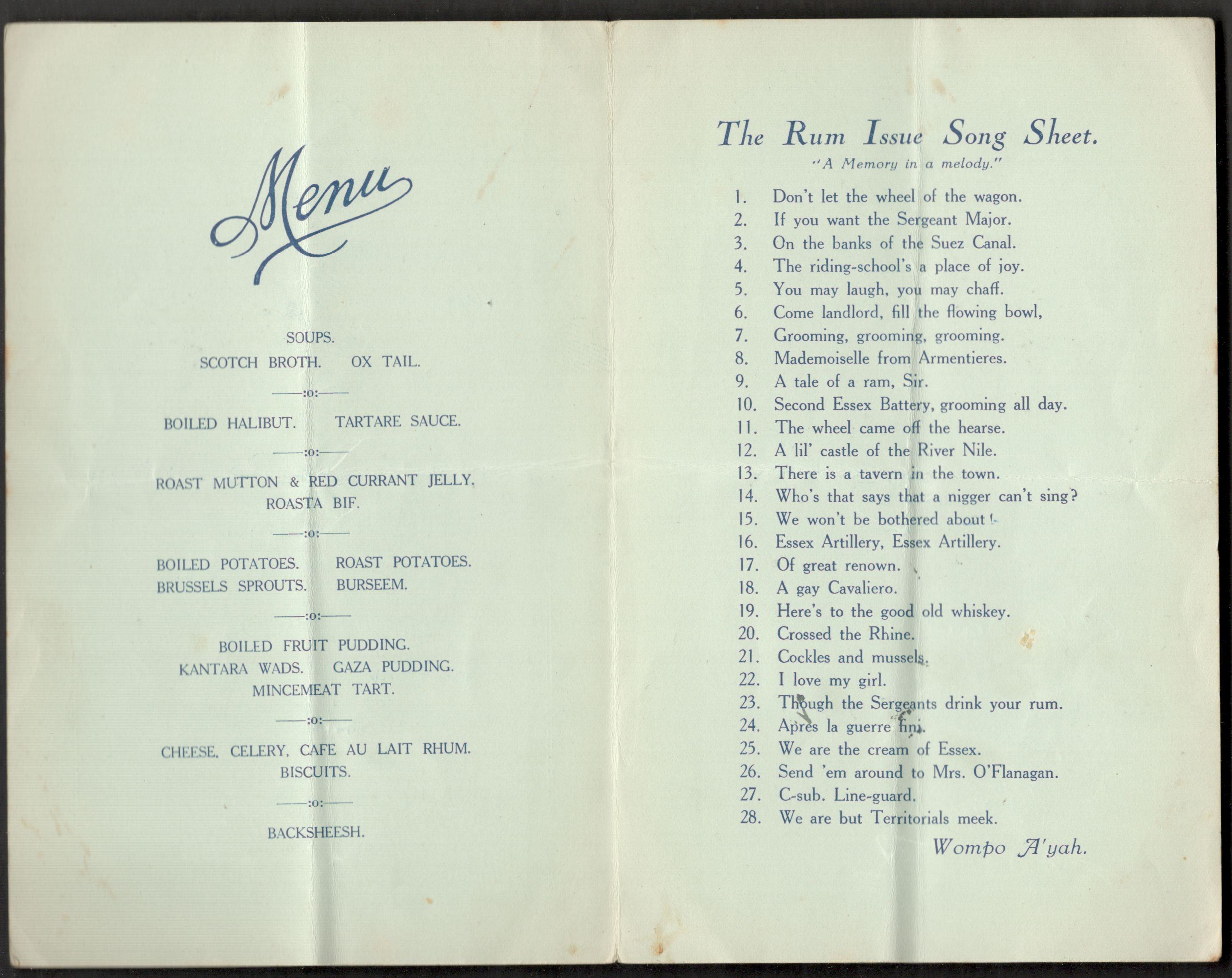 Lot 5 - 1929 10th ANNUAL RE-UNION HELD AT THE SHIPFINSBURY PAVEMENT LONDON SIGNED MENU