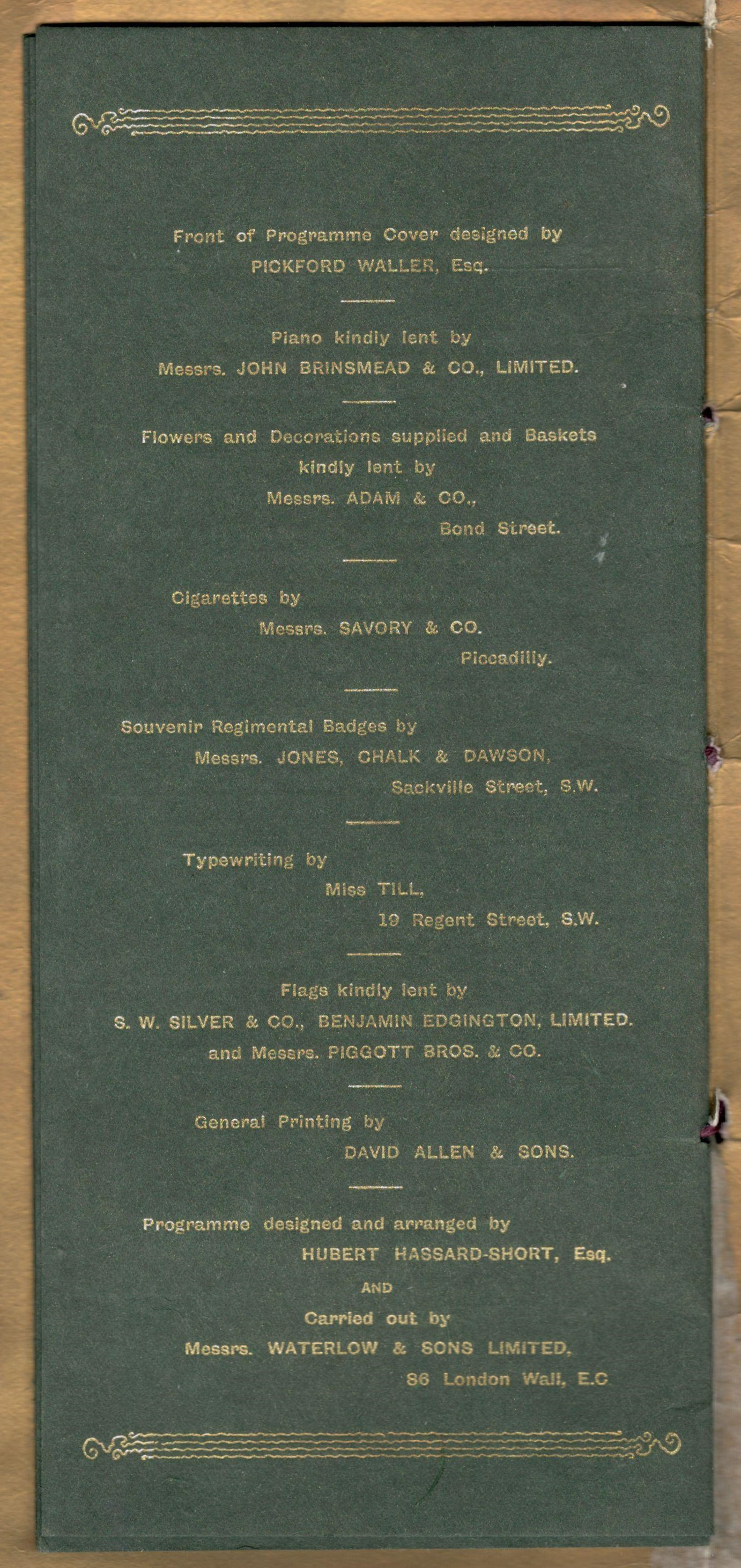 Lot 25 - PROGRAMME FOR GRAND MATINEE ORGANISED BY HUBERT HASSARD - SHORT ESQ. IN AID OF THE SICK & WOUNDED OF