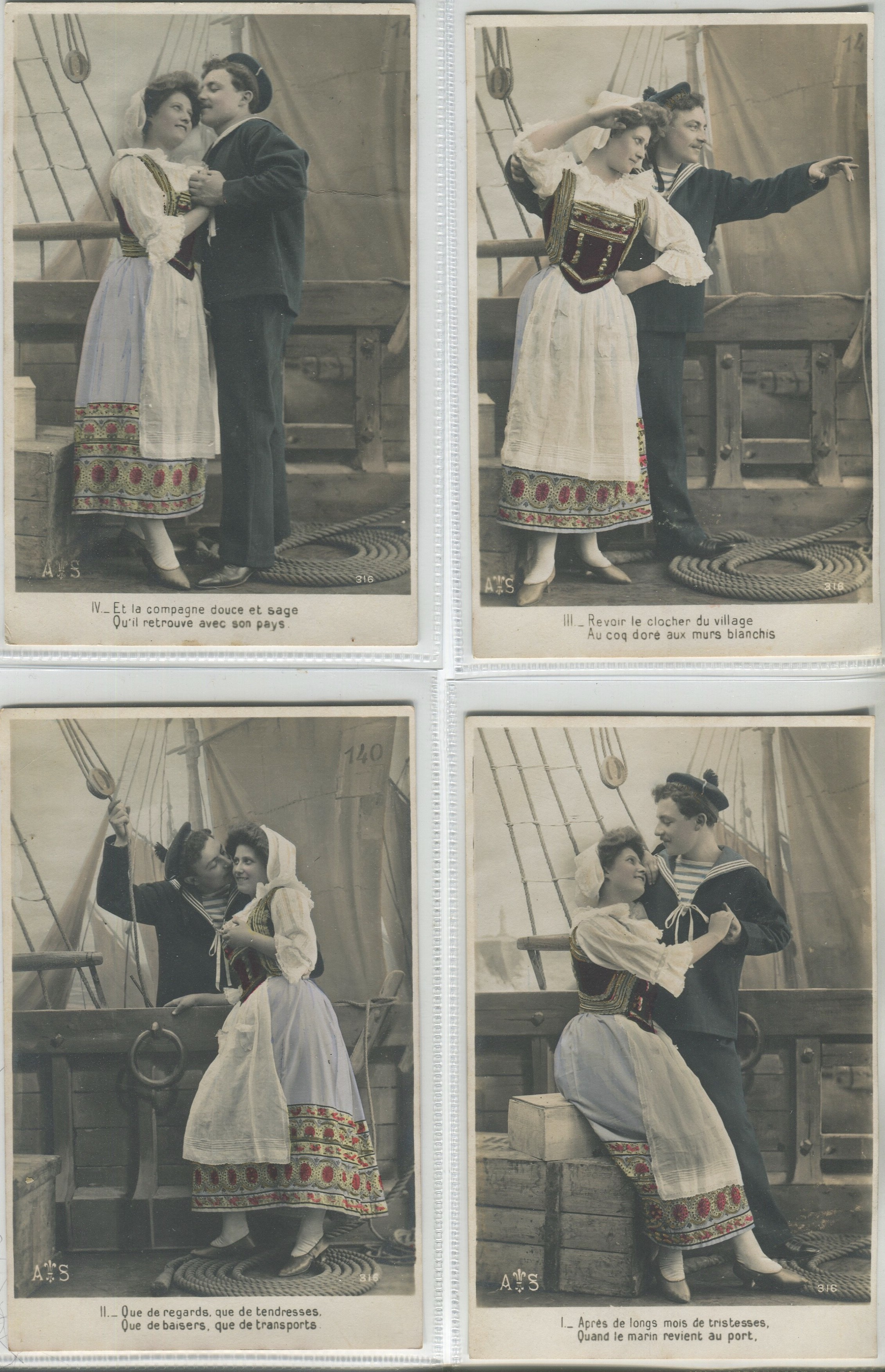 Lot 31 - FOUR VINTAGE ROMANTIC POSTCARDS SAILOR AND A GIRL