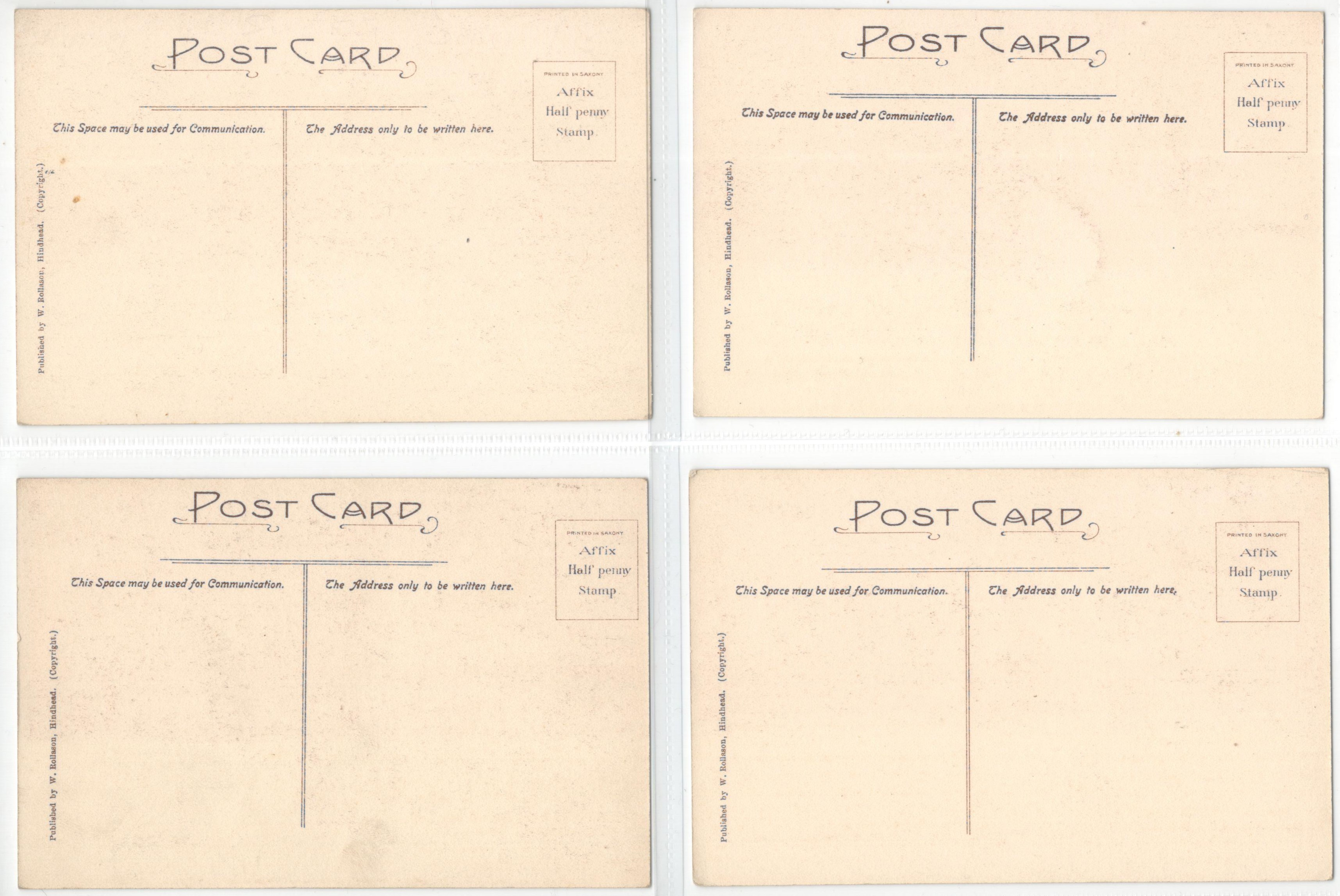 Lot 58 - FOUR POSTCARDS FROM THE ORIGINAL PICTURES AT THE ROYAL HUTS HOTEL HINDHEAD