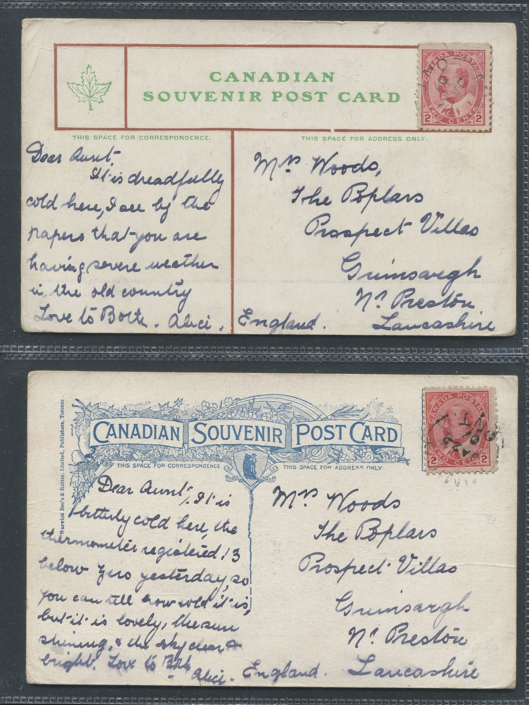 Lot 120 - TWO CANADIAN POSTED SOUVENIR POSTCARDS