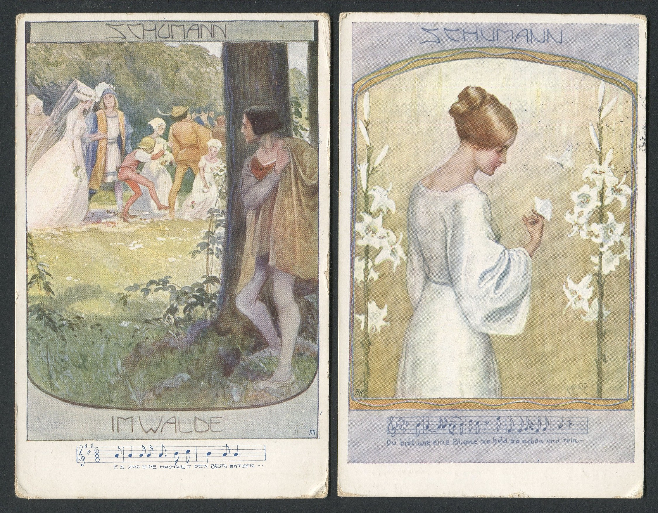 Lot 76 - TWO MUSIC / SONG SCHUMANN POST CARDS