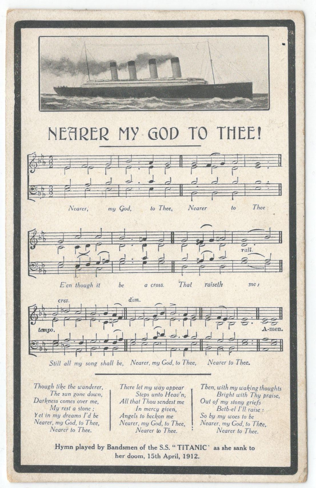 Lot 93 - NEARER MY GOD TO THEE - SOUND POSTCARD - HYMN PLAYED BY BANDSMEN OF THE S.S. TITANIC AS SHE SANK