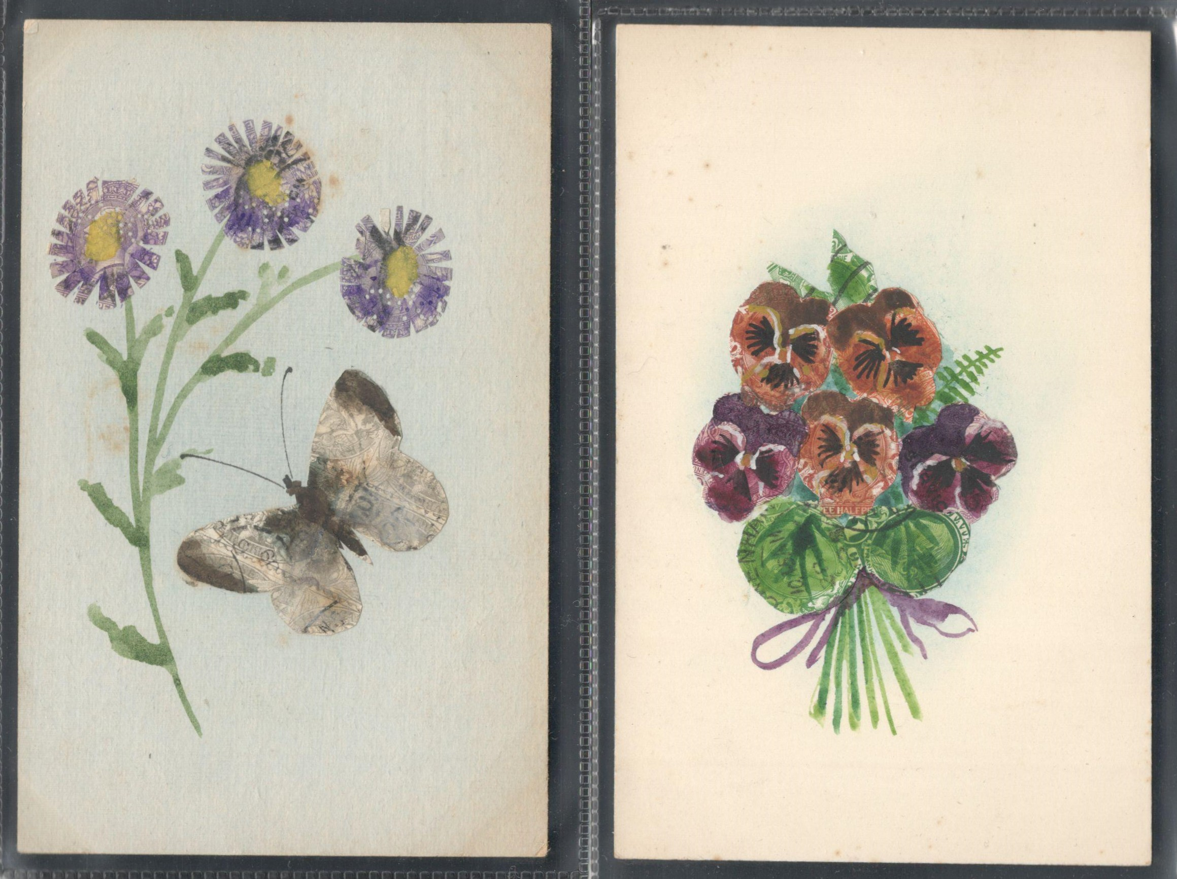 Lot 69 - TWO STAMP MONTAGE POSTCARDS IN VARIOUS CONDITION
